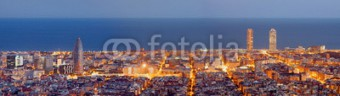 Fotomural Barcelona noche panoramica